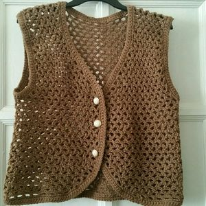 Vtg. Brown Crocheted Vest